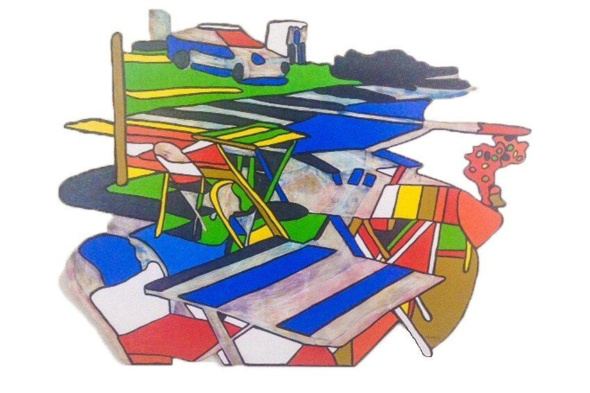 Studio shot of cut-out painting 'Take a Seat' #3 (South Melbourne)