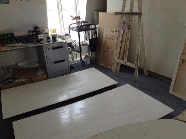 Gesso undercoat drying in the studio