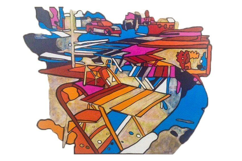 Studio shot of cut-out painting 'Take a Seat' #2 (South Melbourne)