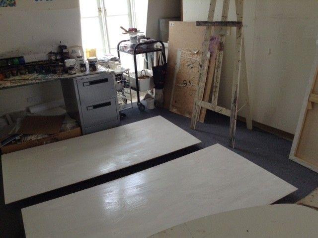 Gesso undercoat drying in the studio